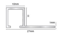 Aluminium Square Trim 12 mm